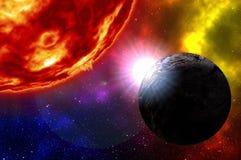 Lever de soleil au-dessus de planète dans l'espace lointain avec des étoiles illustration stock