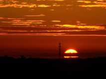 Lever de soleil au-dessus de Raleigh du centre, la Caroline du Nord photos libres de droits