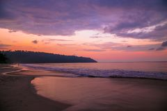 Lever de soleil au havelock de plage de Radhanagar image stock