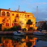 Lever de soleil au port Sapalya, Valence, Espagne image libre de droits