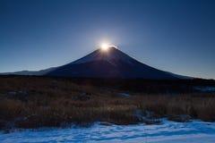 Lever de soleil au sommet de montagne Fuji Image libre de droits