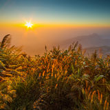 Lever de soleil au sommet de montagne, Phu Tabberk, province de Phetchabun Images libres de droits