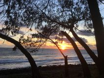 Lever de soleil australien de plage images libres de droits