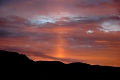 Lever de soleil avec la lumière zodiacale Image stock