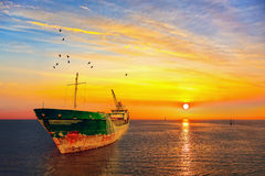 Lever de soleil avec la mer Photos libres de droits