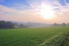 Lever de soleil avec une cuvette de vue la nature photo stock