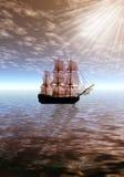 Lever de soleil Bateau de navigation isolé illustration de vecteur