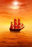 Lever de soleil Bateau de navigation rouge isolé illustration de vecteur