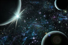 Lever de soleil bleu au-dessus de planète bleue avec le satellite deux Photo stock