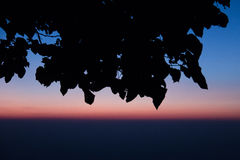 Lever de soleil bleu de ligth dans le dessus de la montagne images libres de droits