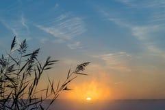 Lever de soleil brumeux sur le lac, Russie, Ural Image stock