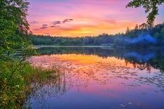 Lever de soleil brumeux sur un lac Images libres de droits