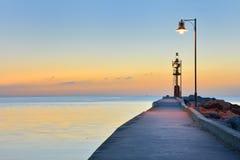 Lever de soleil chez Cesenatico Porto Canale Photos libres de droits