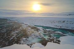 Lever de soleil chez Gullfoss en Islande Image libre de droits
