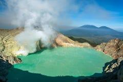 Lever de soleil chez Kawah Ijen, vue panoramique, Indonésie Images stock