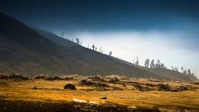 Lever de soleil chez Kawah Ijen, vue populaire Photo stock