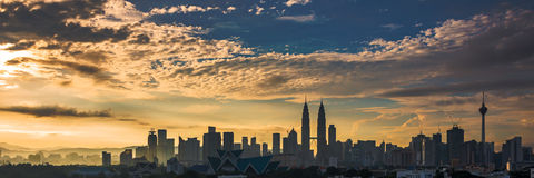 Lever de soleil chez Kuala Lumpur City Centre Images libres de droits