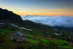 Lever de soleil chez Kundasang, Sabah, Malaisie image stock