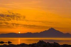 Lever de soleil chez le mont Athos Photographie stock