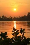 Lever de soleil chez Mae Klong River, secteur d'Amphawa, province de Samut Songkhram, Thaïlande Images stock