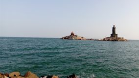 Lever de soleil, coucher du soleil, comorin de cap, Kanyakumari, Tamilnadu Photographie stock libre de droits