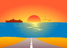 Lever de soleil d'été illustration de vecteur