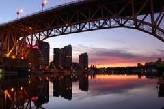 Lever de soleil d'île de Granville, Vancouver Photo stock