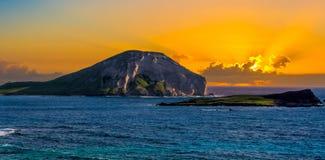 Lever de soleil d'île de lapin images libres de droits