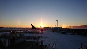 Lever de soleil d'aéroport Photographie stock