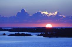 Lever de soleil d'archipel de Stockholm images stock