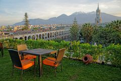 Lever de soleil d'Arequipa de la ville photo libre de droits