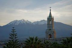 Lever de soleil d'Arequipa de la ville image libre de droits
