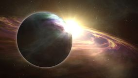 Lever de soleil d'Exoplanet et exploration de cosmos illustration de vecteur