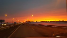 Lever de soleil d'hiver à Minsk photo stock
