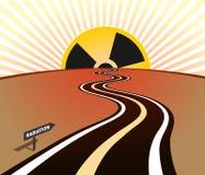 Lever de soleil d'horizon de route d'infection de rayonnement illustration stock