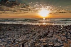 Lever de soleil d'or sur la mer Images libres de droits