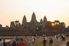 Lever de soleil dans Angkor Vat, Siem Reap Cambodge Photographie stock