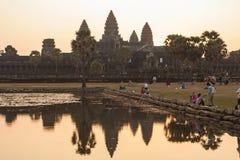Lever de soleil dans Angkor Vat, Siem Reap Cambodge Photographie stock libre de droits