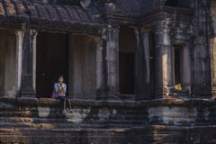 Lever de soleil dans Angkor Vat, Siem Reap Cambodge Images libres de droits