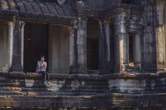 Lever de soleil dans Angkor Vat, Siem Reap Cambodge Images stock