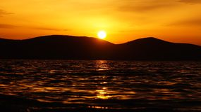 Lever de soleil dans Halkidiki photo stock