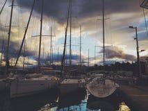 Lever de soleil dans harboar Photographie stock libre de droits