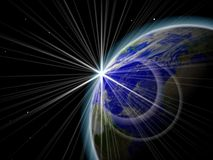 Lever de soleil dans l'espace Images libres de droits