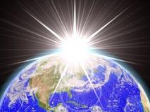Lever de soleil dans l'espace Photographie stock