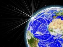 Lever de soleil dans l'espace Photographie stock libre de droits
