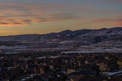 Lever de soleil dans Lakewood, le Colorado Photos stock