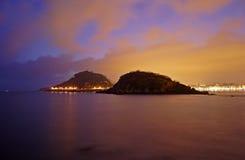 Lever de soleil dans le compartiment de la conque de La, Donostia Image stock