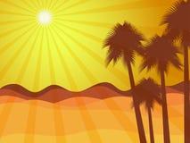 Lever de soleil dans le désert avec le palmier Désert de Judean illustration stock