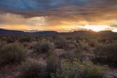 Lever de soleil dans le désert de sud-ouest du ` s de l'Utah Image stock