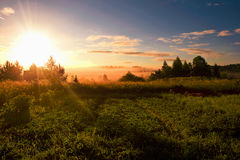 lever de soleil dans le domaine photographie stock